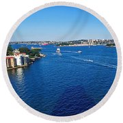 Panoramic Sydney Harbour Round Beach Towel by Kaye Menner