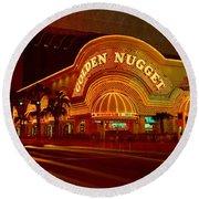 Panoramic View Of Golden Nugget Casino Round Beach Towel
