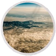 Panoramic View Of Landscape Of Mountain Range Round Beach Towel