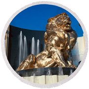 Panoramic View Of Mgm Lion And Mgm Round Beach Towel