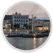Panoramic View Of Spetses Town Round Beach Towel
