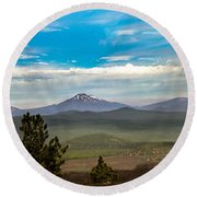 Panoramic View Of The Cascades Round Beach Towel