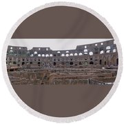 Panoramic View Of The Colosseum Round Beach Towel