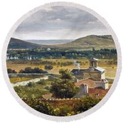 Panoramic View Of The Ile-de-france Round Beach Towel
