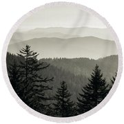 Panoramic View Of Trees With A Mountain Round Beach Towel