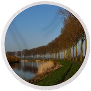 Panoramic View On Pottes - Belgium Round Beach Towel