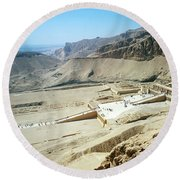 Panoramic View Over Hatschepsut Temple Round Beach Towel