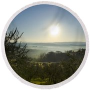 Panoramic View Over The Foggy Field Round Beach Towel