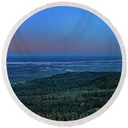 Panoramic View Overlooking Anchorage Round Beach Towel