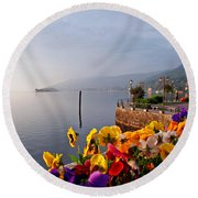 Pansies On Lake Maggiore Round Beach Towel