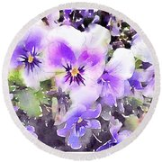 Pansies Watercolor Round Beach Towel