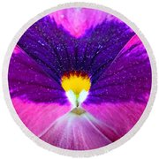 Pansy Abstract 3 Round Beach Towel