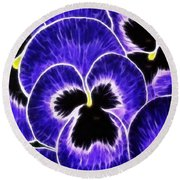 Pansy Expressive Brushstrokes Round Beach Towel