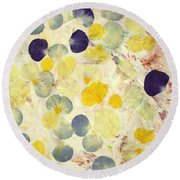 Pansy Petals Round Beach Towel by James W Johnson