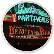 Pantages Theather Marquie Round Beach Towel