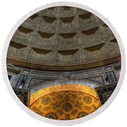 Pantheon Ceiling Detail Round Beach Towel