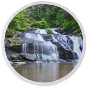 Panther Creek Falls Round Beach Towel