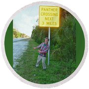Panther Crossing Round Beach Towel