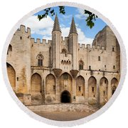 Papal Castle In Avignon Round Beach Towel