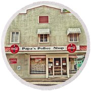 Papa's Poboy Shop Round Beach Towel