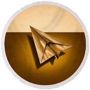 Paper Airplanes Of Wood 1 Round Beach Towel