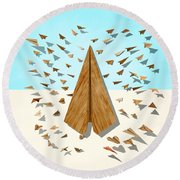 Paper Airplanes Of Wood 10 Round Beach Towel