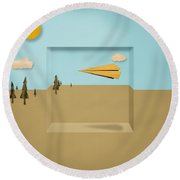 Paper Airplanes Of Wood 12 Round Beach Towel
