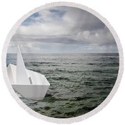 Paper Boat Round Beach Towel