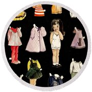 Paper Doll Amy Round Beach Towel by Marilyn Smith