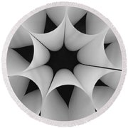 Paper Flower Black And White Round Beach Towel