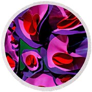 Paper Flowers Round Beach Towel