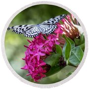 Paper Kite On Fluid Blossoms Round Beach Towel