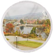 Paper Mill And Fall Colors In Rumford Maine Round Beach Towel