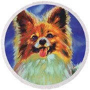 Papillion Puppy Round Beach Towel
