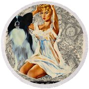 Papillon Art - Una Parisienne Movie Poster Round Beach Towel
