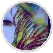 Papillon Bleu Round Beach Towel
