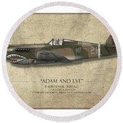 Pappy Boyington P-40 Warhawk - Map Background Round Beach Towel