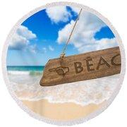 Paradise Beach Sign Algarve Portugal Round Beach Towel
