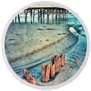 Paradise Cove Pier Round Beach Towel