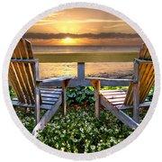 Paradise Round Beach Towel by Debra and Dave Vanderlaan