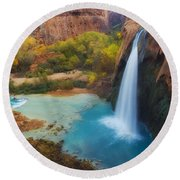 Paradise Falls Round Beach Towel