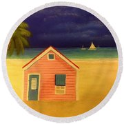 Paradise In Pink Round Beach Towel