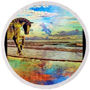 Paradise Sunset Round Beach Towel by Betsy Knapp