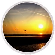 Paragliders At Sunset Round Beach Towel