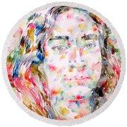 Paramahansa Yogananda Watercolor Portrait Round Beach Towel