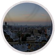 Parc Guell At Sunrise Round Beach Towel