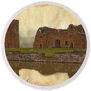Parchment Texture Kirby Muxloe Castle Round Beach Towel