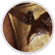 Parchment With Ink And Quill Pen Round Beach Towel
