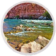 Pariah Riffle Near Lee's Ferry In Glen Canyon National Recreation Area-arizona Round Beach Towel