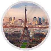Paris At Sunset Round Beach Towel